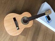 Hellweg Massivholz-Gitarre 1 4 neuwertig