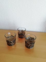 3 Teelichtgläser mit Zinn