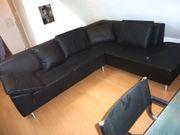 unbenutzte schwarze Eck-Couch Sofa 245