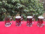 4 handbemalte Glasbierkrüge