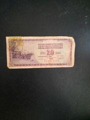 Jugoslavija 20 Dinara Geldschein