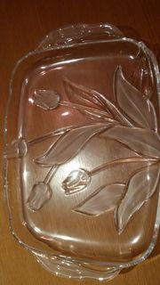 Glasplatte mit Tulpenmotiv