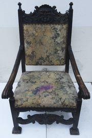 Antiker Stuhl Thron Gründerzeit Bezug