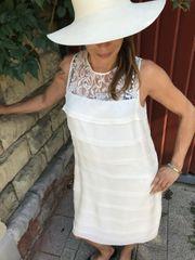 Kleid Cremeweiss Seide Spitze Gr