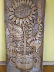 Holzbild geschnitzt Sonnenblume im Topf