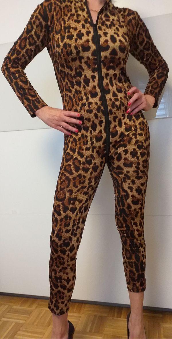 Elastisch Leopard Overall Catsuit Langarm