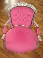 Kindersessel Prinzessin silber pink Barock