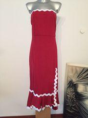 Kleid Abendkleid rot mit weiß