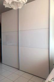 Schwebetürenschrank 2-türig weiß Glaseinsätze 200x216x68