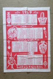 1969 Küchentuch - Kalender Echt Handdruck
