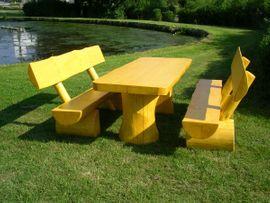 Gartenmöbel - Massive Holzgarnitur Sinnesbank Sitzgruppe Gartengarnitur