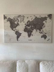 Weltkarte mit Fahnen-Stecknadeln 75x125cm