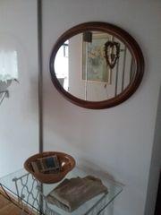 Spiegel oval mit Eicheholzrahmen