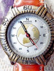 Gut gepflegte Sammler-Armbanduhr Lederarmband Batterie