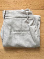 Elegante Hose Anzughose grau weiß