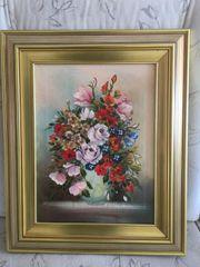 Original Gemälde Blumen in Vase