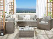 Lounge Set Rattan hellbraun 6-Sitzer