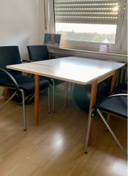 weißer Tisch Esszimmertisch zum ausklappen