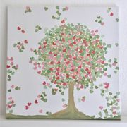 Liebesbaum Gemälde Bild Baum Herzblatt