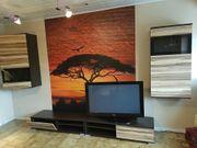 Schöne Wohnwand 4 teilig braun