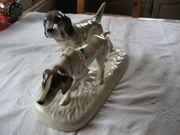 Porzellanfigur Figur Porzellan 2 Hunde