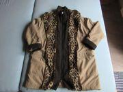 Mantel Longjacke beige mit Leopard