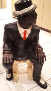 Holzfigur Klavierspieler Skulptur Werbefigur Figur