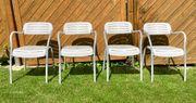 4 Gartenstühle - Metall in weiß grau