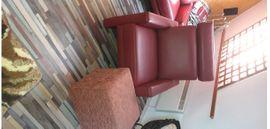 Polster, Sessel, Couch - 3-Sitzer Ledersofa mit Sessel