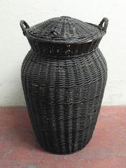 Wäschekorb mit Deckel Weide - Schwarz