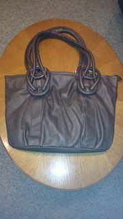 Damenhandtasche dunkelbraun mit 2 Henkel