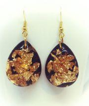 Ohrringe Transparentes Epoxidharz Blattgold 24