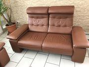 2 Ledersofas Doppelsitzer mit Relaxfunktion