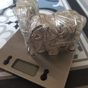 Elefanten weiß Silber zwei Stück