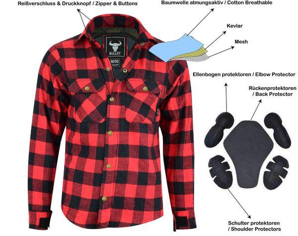 Motorradhemd Kevlar Rot Schwarz