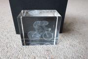 Verkaufe 3D Kristallglas Rennradfahrer und