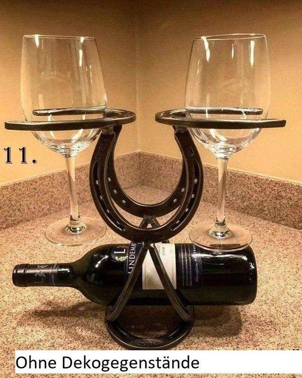 Weinhalter Flaschehalter Hufeisen Glashalter Handmade