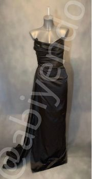 Abendkleid Abiye Satinkleid in schwarz -
