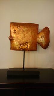 Deko Fisch Holz Orange Fisch