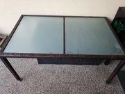 Gartentisch Tisch Rattan Sicherheitsglas 150x90
