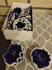 12 Kerzenschmuck blau weiß Handarbeit