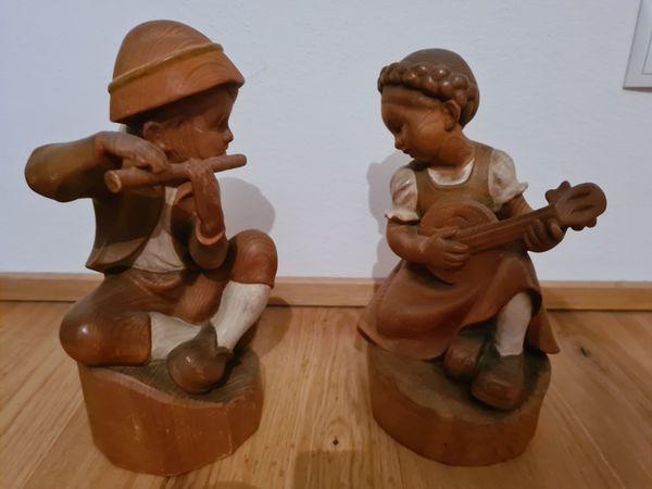 Flötenknabe Lautenmädchen Schnitzerei Josef Blassnig