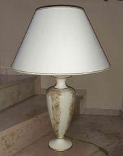 Tischlampe mit Porzellanfuß marmoriert