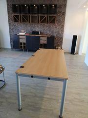 Büro Tisch Höhe verstellbar Buche