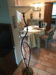 Jugendstil-Deckenfluter mit Glasschirm Top Zustand