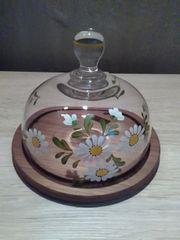 Servierplatte rund Teakholzteller mit Glasdeckel