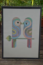 Wandbild Lithographie hübsch signiert großformatig