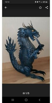 Metall Drache Lampe blau