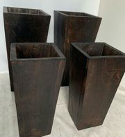4 Teakholz Gefäße Vasen