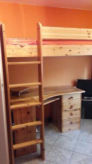 Bett Hochbett mit Schreibtisch